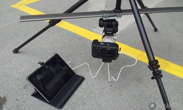 Slider + Canon 5D mark III + Canon 70-200mm + Galaxy Tab 10.1